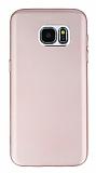 Samsung Galaxy S7 Edge Metal Kamera Korumalı Rose Gold Silikon Kılıf