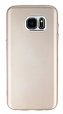 Samsung Galaxy S7 Edge Metal Kamera Korumalı Gold Silikon Kılıf