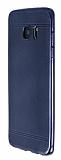 Samsung Galaxy S7 Edge Metalik Nokta Desenli Lacivert Silikon Kılıf