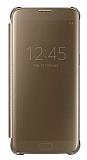 Samsung Galaxy S7 Edge Orjinal Clear View Uyku Modlu Gold Kılıf