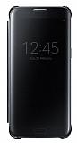 Samsung Galaxy S7 Edge Orjinal Clear View Uyku Modlu Siyah Kılıf