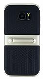 Samsung Galaxy S7 Edge Standlı Çizgili Gold Silikon Kılıf