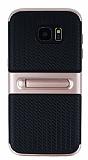 Samsung Galaxy S7 Edge Standlı Çizgili Rose Gold Silikon Kılıf