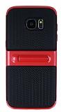 Samsung Galaxy S7 Edge Standlı Çizgili Kırmızı Silikon Kılıf
