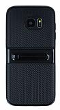 Samsung Galaxy S7 Edge Standlı Çizgili Siyah Silikon Kılıf