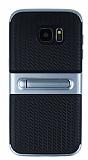 Samsung Galaxy S7 Edge Standlı Çizgili Dark Silver Silikon Kılıf