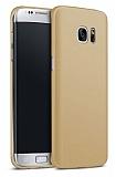 Samsung Galaxy S7 Edge Tam Kenar Koruma Gold Rubber Kılıf