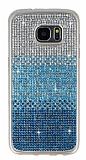 Samsung Galaxy S7 Edge Taşlı Geçişli Mavi Silikon Kılıf