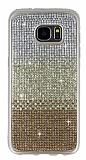 Samsung Galaxy S7 Edge Taşlı Geçişli Gold Silikon Kılıf