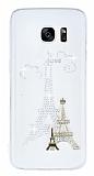 Samsung Galaxy S7 Edge Taşlı Paris Şeffaf Silikon Kılıf