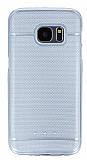 Samsung Galaxy S7 Metalik Nokta Desenli Silver Silikon Kılıf