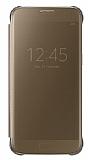 Samsung Galaxy S7 Orjinal Clear View Uyku Modlu Gold Kılıf