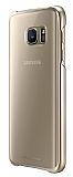 Samsung Galaxy S7 Orjinal Metalik Gold Kenarlı Kristal Kılıf