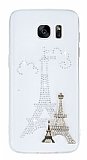 Samsung Galaxy S7 Taşlı Paris Şeffaf Silikon Kılıf