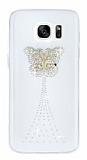 Samsung Galaxy S7 Taşlı Kelebek Şeffaf Silikon Kılıf