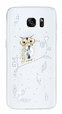 Samsung Galaxy S7 Baykuş Taşlı Şeffaf Silikon Kılıf