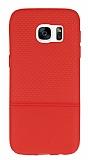Samsung Galaxy S7 Ultra İnce Noktalı Kırmızı Silikon Kılıf