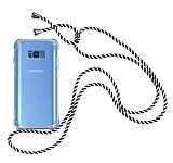 Samsung Galaxy S8 Çizgili Askılı Şeffaf Silikon Kılıf