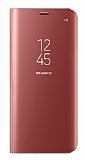 Eiroo Samsung Galaxy S8 Clear View Uyku Modlu Standlı Kapaklı Rose Gold Kılıf