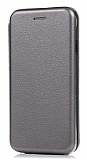 Samsung Galaxy M30 Curve Manyetik Kapaklı Silver Deri Kılıf