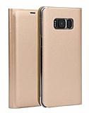 Samsung Galaxy S8 Cüzdanlı Yan Kapaklı Gold Deri Kılıf