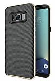 Eiroo Carbon Hybrid Samsung Galaxy S8 Gold Kenarlı Karbon Siyah Silikon Kılıf