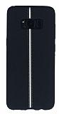 Samsung Galaxy S8 Kadife Dokulu Siyah Silikon Kılıf