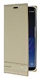 Samsung Galaxy S8 Plus Gizli Mıknatıslı Yan Kapaklı Gold Deri Kılıf
