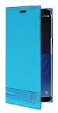 Samsung Galaxy S8 Plus Gizli Mıknatıslı Yan Kapaklı Mavi Deri Kılıf