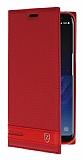 Samsung Galaxy S8 Plus Gizli Mıknatıslı Yan Kapaklı Kırmızı Deri Kılıf