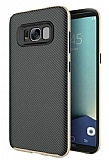 Eiroo Carbon Hybrid Samsung Galaxy S8 Plus Gold Kenarlı Karbon Siyah Silikon Kılıf