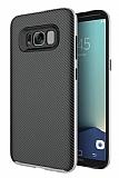 Eiroo Carbon Hybrid Samsung Galaxy S8 Plus Silver Kenarlı Karbon Siyah Silikon Kılıf
