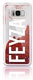 Samsung Galaxy S8 Plus Kişiye Özel Simli Sulu Kırmızı Rubber Kılıf