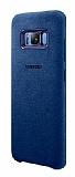 Samsung Galaxy S8 Plus Orjinal Alcantara Süet Koyu Mavi Kılıf