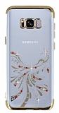 Samsung Galaxy S8 Plus Gold Peacock Taşlı Şeffaf Silikon Kılıf