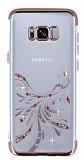 Samsung Galaxy S8 Plus Rose Gold Peacock Taşlı Şeffaf Silikon Kılıf