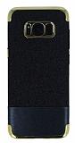 Samsung Galaxy S8 Plus Simli Deri Siyah Silikon Kılıf