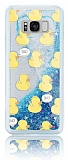 Samsung Galaxy S8 Plus Simli Sulu Ördekli Mavi Silikon Kılıf