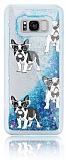 Samsung Galaxy S8 Plus Simli Sulu Köpekli Mavi Silikon Kılıf