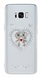 Samsung Galaxy S8 Plus Taşlı Love Şeffaf Silikon Kılıf
