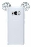 Samsung Galaxy S8 Plus Taşlı Kulaklı Silver Silikon Kılıf