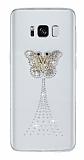Samsung Galaxy S8 Taşlı Kelebek Şeffaf Silikon Kılıf