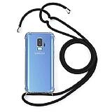 Samsung Galaxy S9 Siyah Askılı Şeffaf Silikon Kılıf