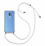 Samsung Galaxy S9 Beyaz Çizgili Askılı Şeffaf Silikon Kılıf
