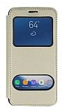 Samsung Galaxy S9 Çift Pencereli Kapaklı Gold Kılıf