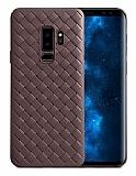Samsung Galaxy S9 Hasır Desenli Kahverengi Silikon Kılıf
