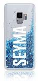Samsung Galaxy S9 Kişiye Özel Simli Sulu Mavi Rubber Kılıf