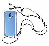 Samsung Galaxy S9 Plus Çizgili Askılı Şeffaf Silikon Kılıf