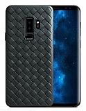 Samsung Galaxy S9 Plus Hasır Desenli Siyah Silikon Kılıf