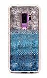 Samsung Galaxy S9 Plus Taşlı Geçişli Mavi Silikon Kılıf